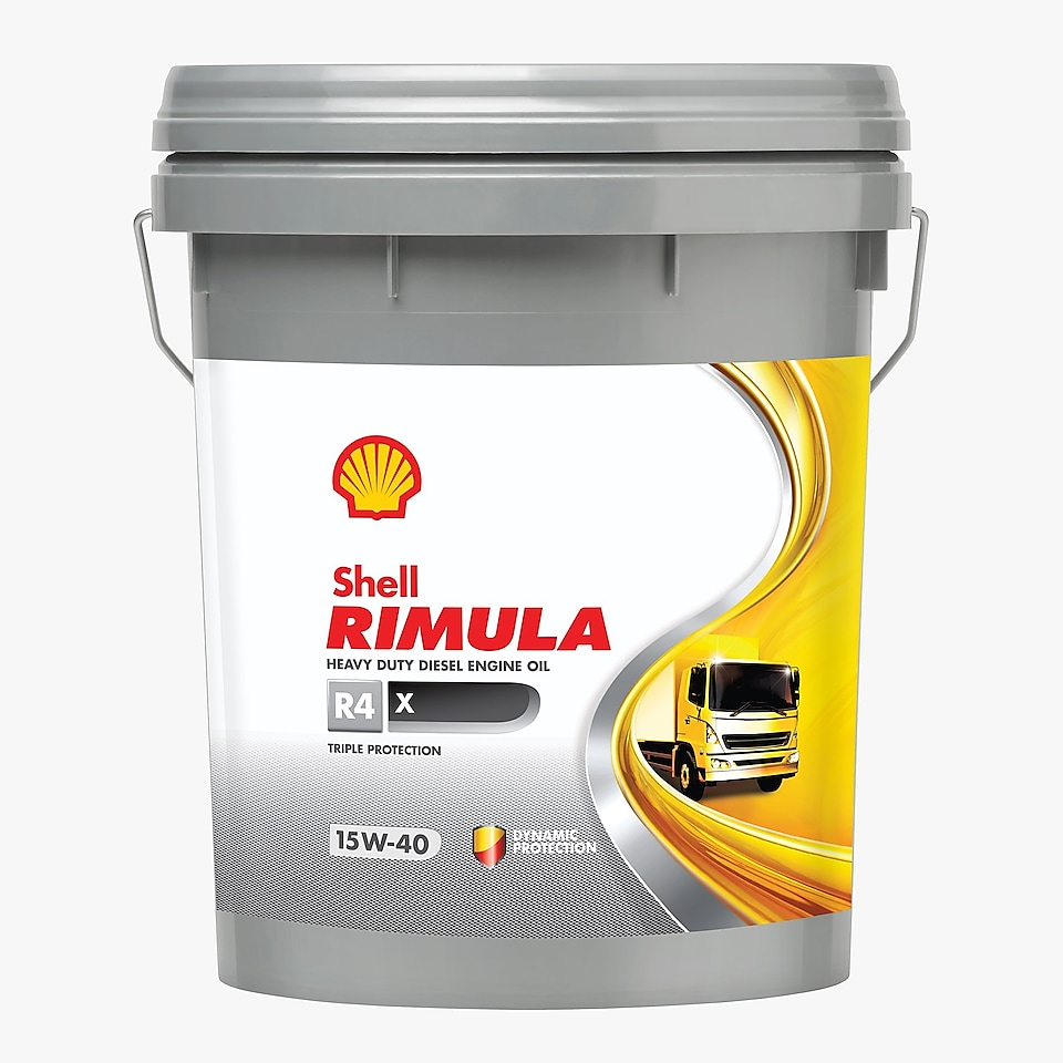 Shell Rimula R4X Pail, and 4 L Pack