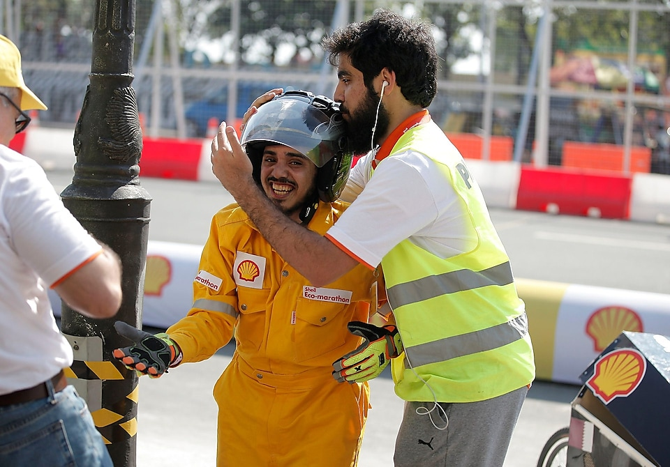 Team GernasS from the Qatar University in Doha celebrates during the final day of the Shell Eco-marathon Asia, in Manila, Philippines
