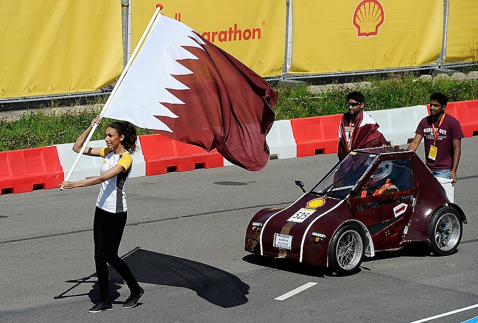 The Al Gazzal, UrbanConcept, running on GTL, competing for team Maroon Platoon, from Texas A&M University at Qatar during the opening ceremony on day 2 of the Shell Eco-marathon Europe 2014