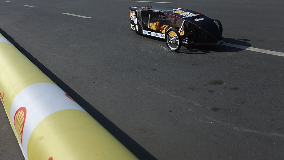 Team GernasS from Qatar University in Gernas 1 Gen 4 prototype racing on track during day four of the Shell Eco-marathon in Manila, Philippines