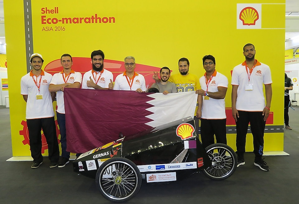 Team GernasS from the Qatar University in Doha with The Gernas Proto 5 in Manila, Philippines