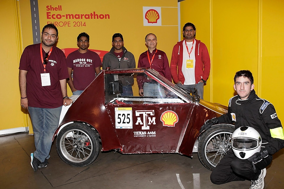 The Al Gazzal, UrbanConcept, running on GTL, competing for team Maroon Platoon, from Texas A&M University at Qatar during day 1 of the Shell Eco-marathon Europe 2014