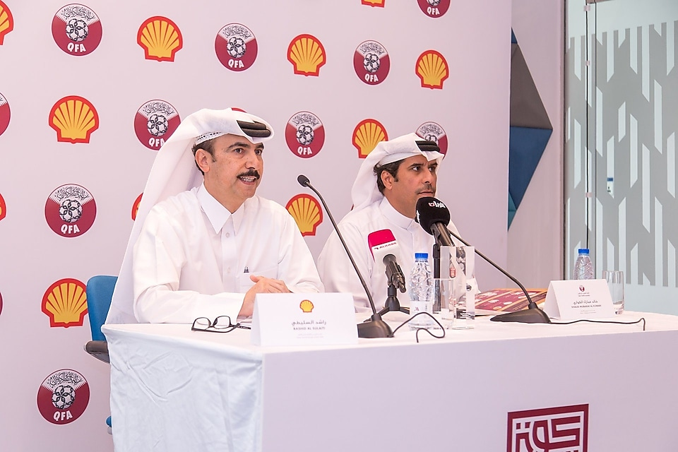 (from left)Rashid Majed Al-Sulaiti, Deputy General Manager of Qatar Shell Companies, andKhalid Mubarak Al-Kawari, Director of Marketing and Communication of Qatar Football Association, speak at theKoora Time press conference.