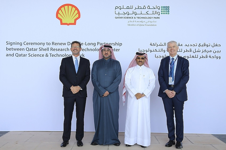 (from right) Dr. Richard O'Kennedy, Vice President, QF RDI; Yosouf Abdulrahman Saleh, Executive Director, QSTP; Hussain Al Hijji, Vice President, QSRTC; and Andrew Faulkner, Managing Director and Chairman, Qatar Shell, during the signing ceremony.