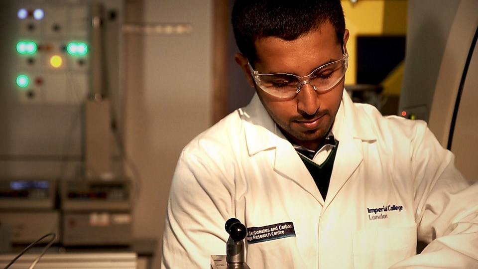 Qatari scientist at work at Carbon storage lab in Qatar